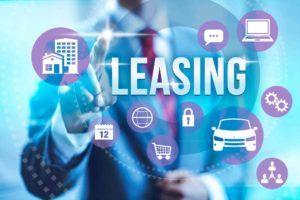 Das Wort Leasing mit den leasbaren Gegenständen rundherum